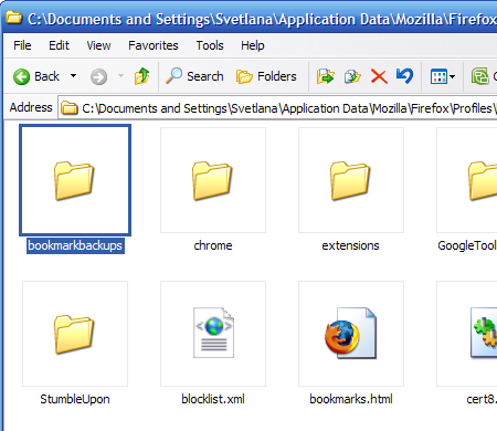 The backup of all your lost bookmarks is saved in this folder
